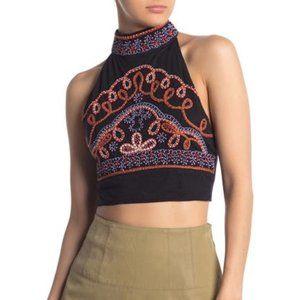 Sale! FP Goa Embroidered Crop Halter Top Black